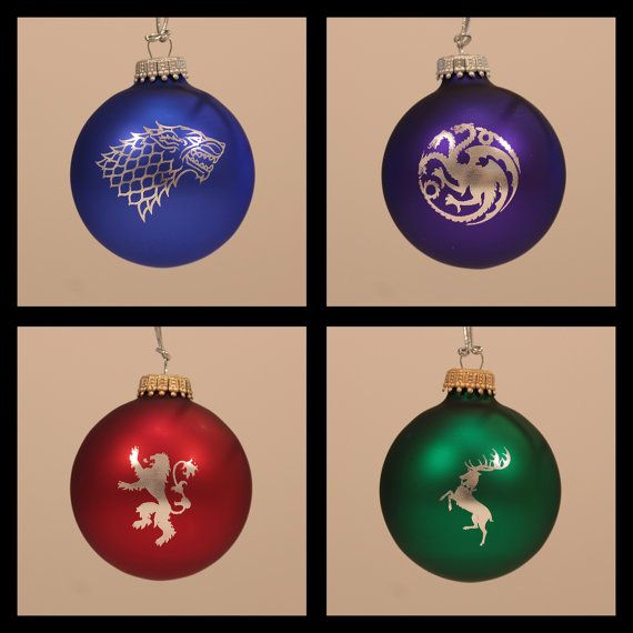 """""""And this is how Tegan began her 'A Song of Ice and Fire' ornament collection"""" https://www.etsy.com/listing/165190130/game-of-thrones-laser-engraved-christmas"""