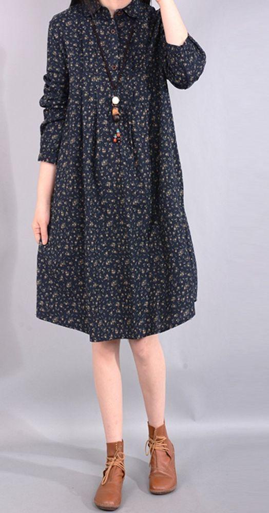 Women loose fitting over plus size retro flower dress tunic long sleeve fashion