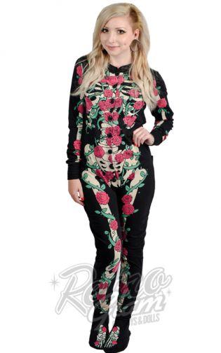 Retro Glam - Too Fast Rose Vine Skeleton Adult Onesie Pajamas