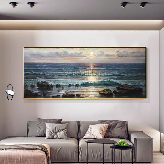 Sea Waves Abstract original oil painting on canvas blue painting seascape texture Wall Pictures wall decor cuadros abstractos hand painted