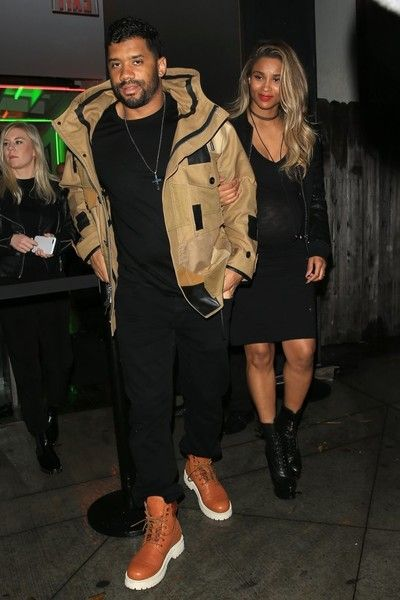 NFL star quarterback Russell Wilson was spotted taking his very pregnant wife Ciara out to shop at a Maxfield pop up store in Los Angeles, California on February 10, 2017.