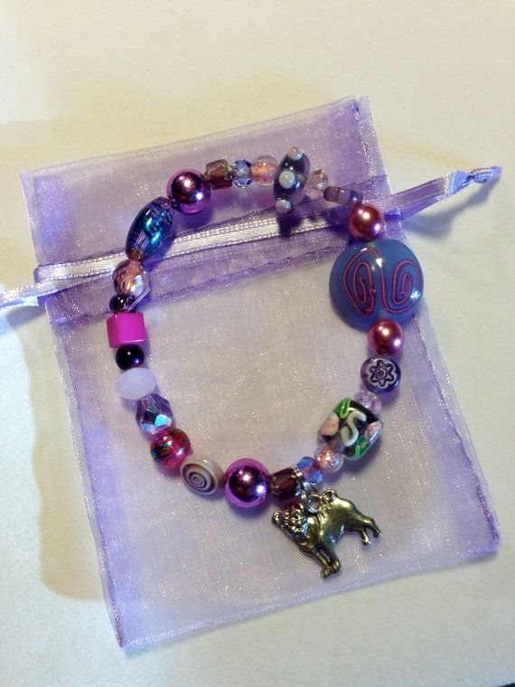 PUG RESCUE Beaded Charm Stretch Bracelet - Made to Order - Your Choice Color on Etsy, $15.00