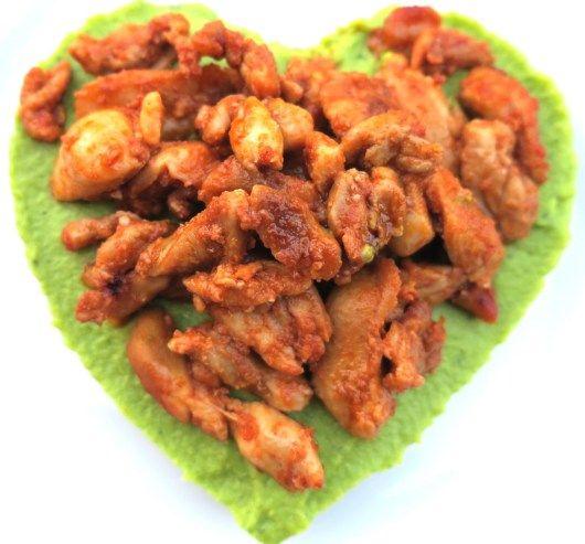 asian chicken with cauliflower & broccoli purée