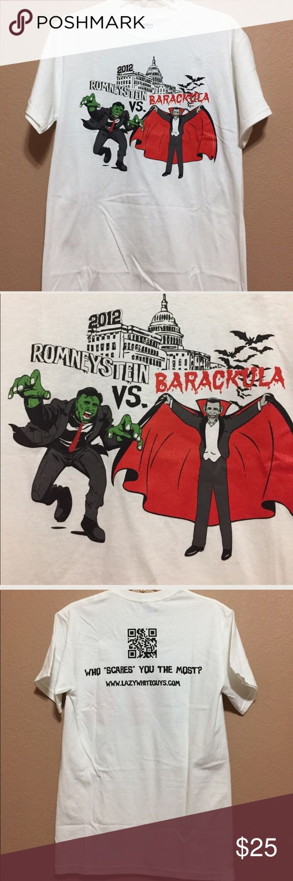 """Political Tshirt - Romneystein vs Barackula Political Tshirt from 2012. Unisex small. Looks long. Never worn.  Measurements: Underarm to underarm 18"""" length 28"""". 🚫no low ball offers Tops Tees - Short Sleeve"""