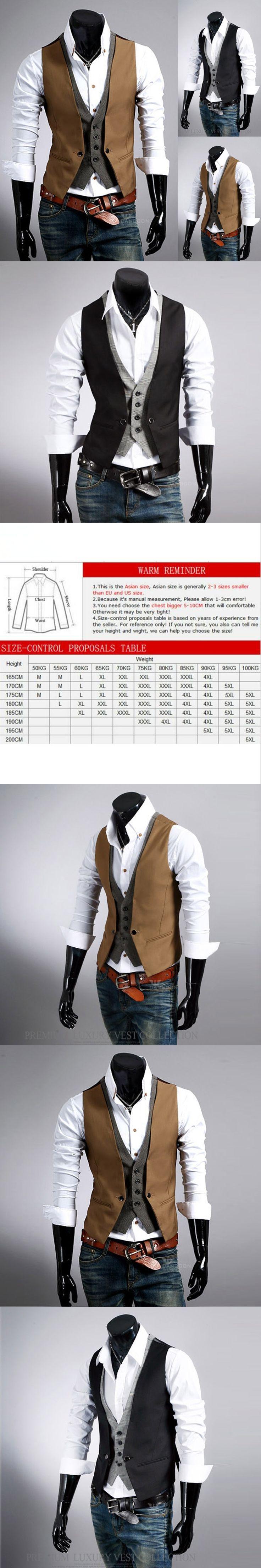 2017 New Fashion Boutique Splicing Slim Men Business Suit Vest / Male Cardigan Color Matching Leisure Suit Vest Casual Vests