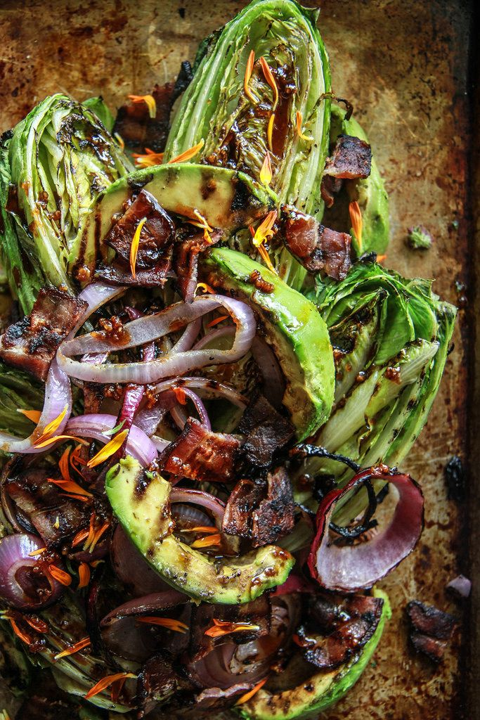 Grilled Romaine, Bacon, Red oniona dn Avocado Salad from HeatherCHristo.com