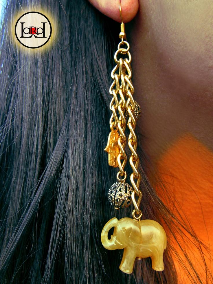 Lucky ethnic elephant chain earrings