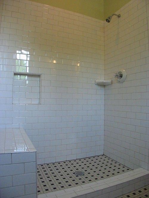 Craftsman Style Bath Remodel Subway Tile Shower