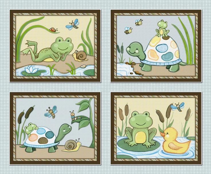 Pond Friends. Set of four 8x10 Wiggle Bugs, Frog & Turtle Nursery Art Prints. $24.00, via Etsy.