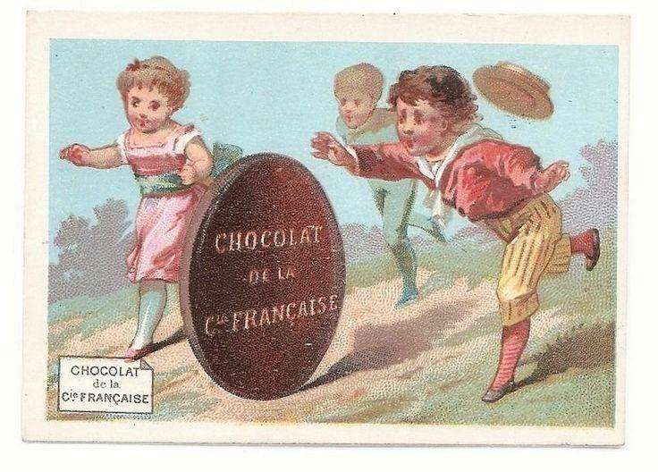 La Roue en Chocolat -  Jeu d' Enfants - Chromo Cie Française - Trade Card