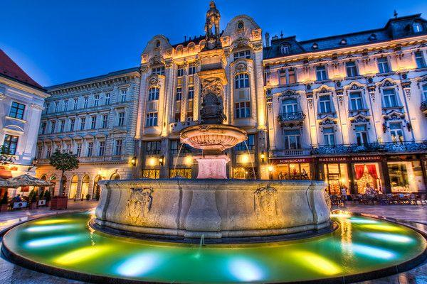 Roland's fountain in the Main square in Bratislava