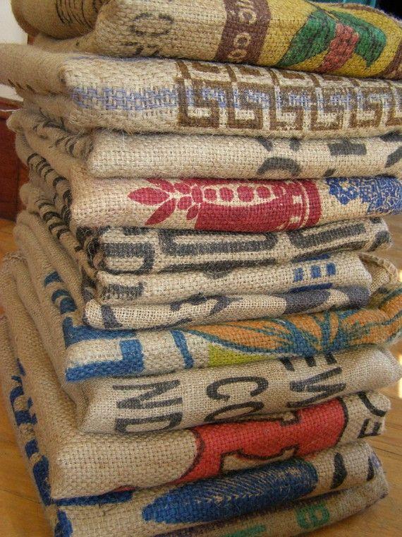 coffee bean burlap bags | CLEARANCE SALE - Burlap Coffee Bean Bags - BAKERS DOZEN - Lot of 13