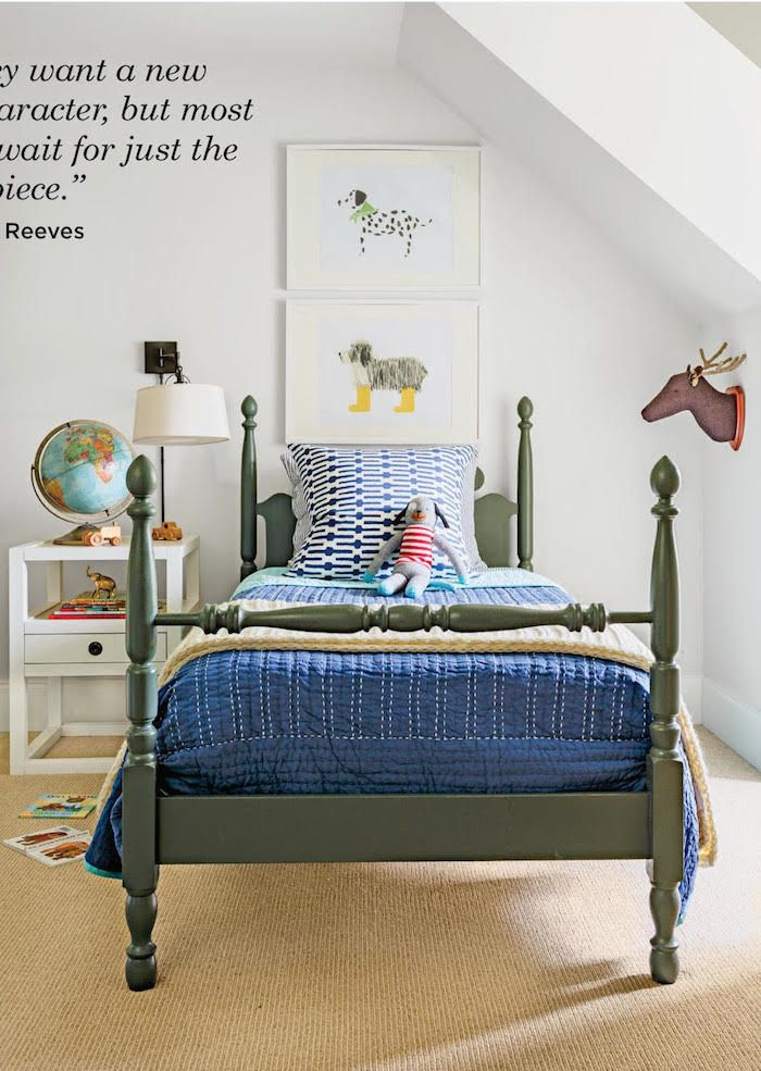 Minimalist This little boy s bed is painted a handsome shade of gray green Rosemary by Sherwin Williams that will easily transition from tot to teen Pictures - Elegant preschool beds In 2018