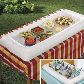It's International Picnic Day!  Keep picnic food and drinks cold with this Inflatable Serving Bar!