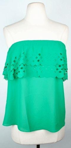 Pretty: Four Leaf Clovers, Green Tops, Cute Tops, Lace Tops, Tube Tops, Pretty Color, Clovers Tops, Strapless Tops, Cute Summer Tops