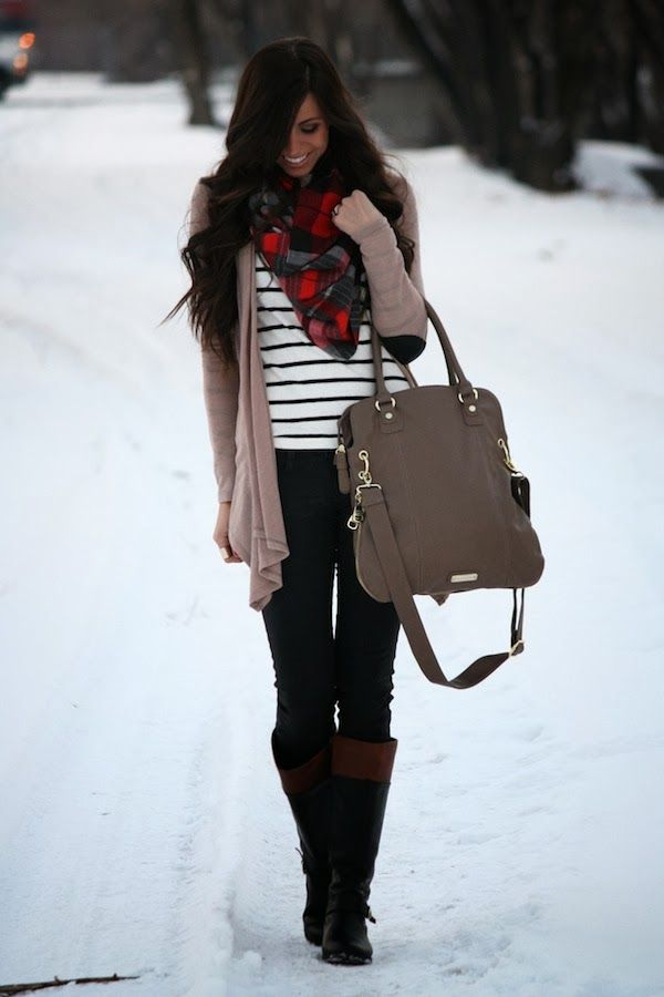 Cold weather outfit: jeans, boots, striped top, scarf, cardigan and oversized purse.