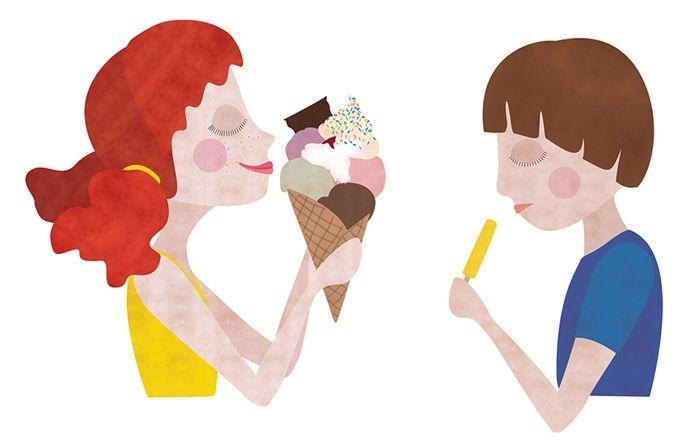 Children having ice cream illustration