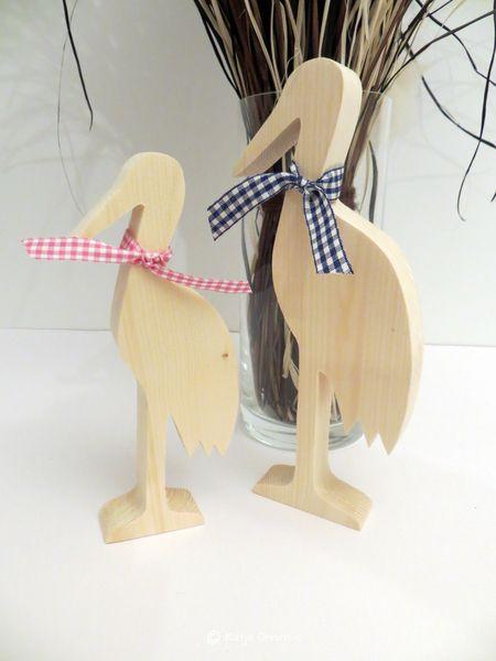 Weiteres - Holzstorch Storch DekorationTaufe Geburt Hochzeit - ein Designerstück von kuenstlerei bei DaWanda