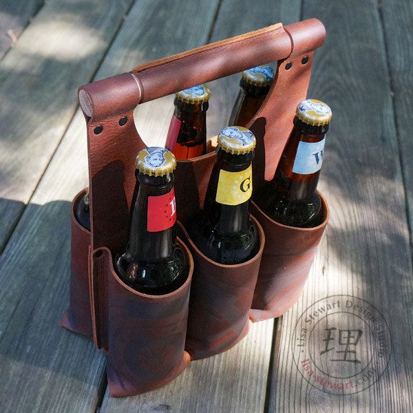 Leather Six Pack Steampunk Tote Amber Ale by SteampunkStewie, $95.00
