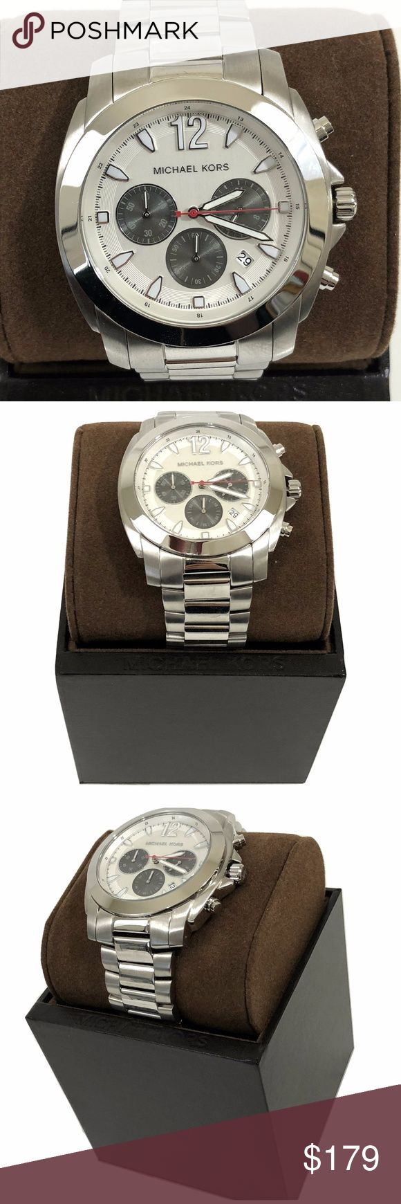 NWT Cameron Silver Stainless Steel Watch MK8242 ***100% GUARANTEED AUTHENTIC OR YOUR MONEY BACK!***  NEW WITH TAG Dial Window Material Type : Mineral; Display Type : Analog Clasp : Fold Over Clasp; Case Material : Stainless Steel Case Diameter : 42 millimeters; Case Thickness : 12 millimeters Bezel Material : Stainless Steel; Bexel Function : Stationary Calendar : Date; Special Features : Chronograph Movement : Analog Quartz; Color: Silver Water Resistant Depth : 350 Meters Michael Kors box…