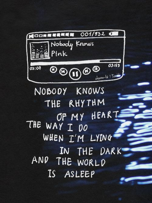 """Haunting songs: Nobody Knows - P!nk """" This song is my personal anthem which I usually open when I'm depressed, but only when I'm in my room at night, that's why the volume is low. And if you notice..."""