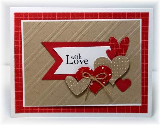 Stampin' Up! ... handmade Valentine card from Scrappin' and Stampin' in GJ ... kraft with red and white ... montage of heats on a fish tail banner ... several layers for matting effect ... like it!