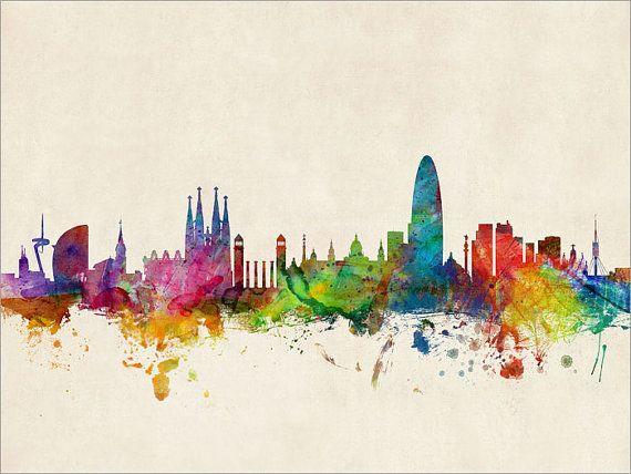 Barcelona Skyline impresión del arte de la ciudad de por artPause