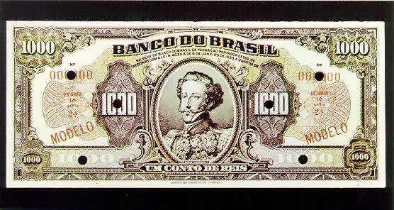 História do Dinheiro no Brasil 1 Conto de Réis  Cédula do Banco do Brasil, que foi autorizado a emitir moeda de papel entre 1923 e 1926. As cédulas de um conto de réis eqüivaliam a um milhão de réis.