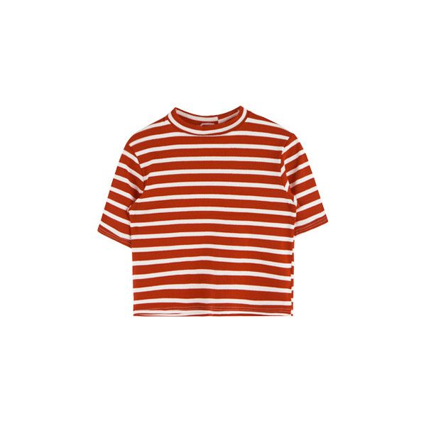 반폴라 스트라이프 크롭탑 ❤ liked on Polyvore featuring tops, t-shirts, shirts, t shirts, red top, red tee, red t shirt, tee-shirt and red shirt