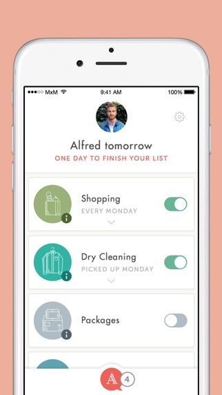 hello alfred app screen on a white iphone 6