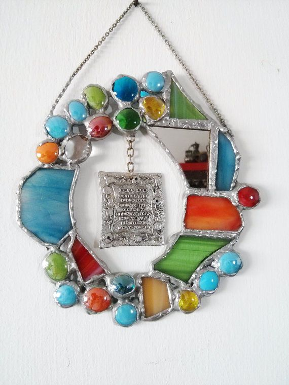 Colourful Stained Glass Home Blessing  Judaica by Malkamania