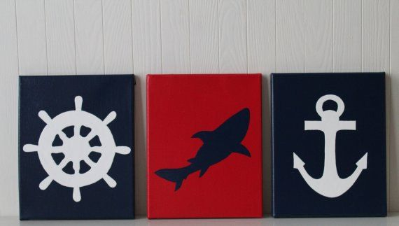 Nautical Nursery Decor Shark Nursery Ship's Wheel Nursery Anchor Navy Red White Nautical Bathroom Art Nautical Painting