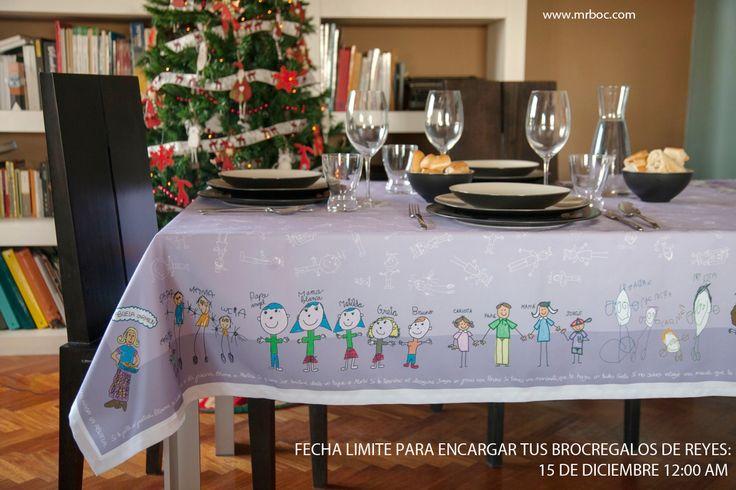 Regalos perfectos para encargarlos a los Reyes Magos. ¿Te imaginas la cara de la abuela al ver el Broc Mantel con los dibujos de todos sus nietos?. www.mrbroc.com