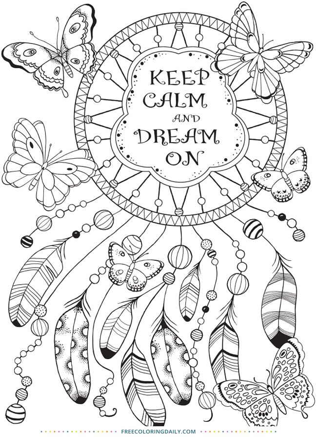 Free Dreamcatcher Coloring With Images Dream Catcher Coloring