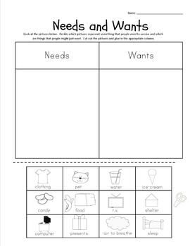 Needs and Wants Lesson Plan and Worksheets $