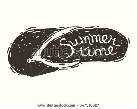 Hand drawn illustration with slap in engraving style with handwritten inscription SummerTime