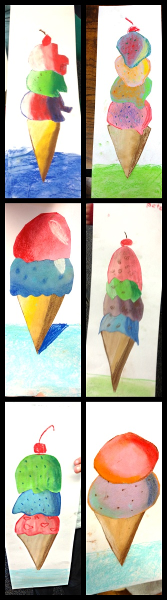 Wayne Theibaud ice cream cones, 3rd grade lesson on beginning shading to create 3D forms with chalk and colored papers. #startingarts