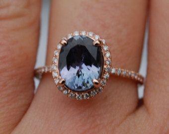 Anillo de tanzanita. GIA de anillo de compromiso de oro rosa