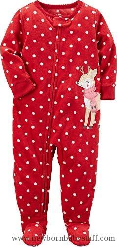 Baby Girl Clothes Carter s Girls  12M-12 Christmas Reindeer Dots Fleece  Pajamas Red 3T efa066850