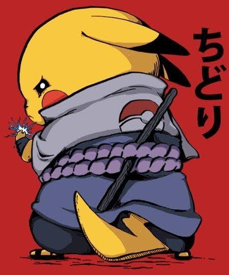 Pikachu and Sasuke Uchiha Crossover | Naruto, Pokemon, Pikachu