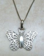 Sterling Silver Open Work Butterfly Pendant And Necklace.