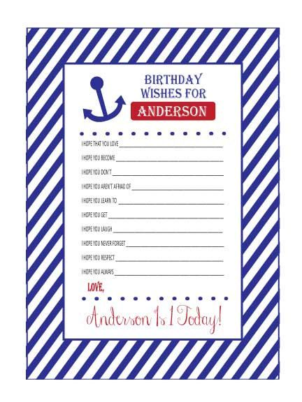 Baby Shower or Baby Birthday Wishes Anchors Away Nautical