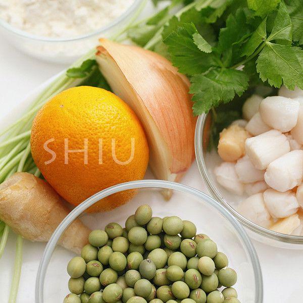 〈青大豆と小柱のかき揚げ〉1. かき揚げの材料 : たべるん。