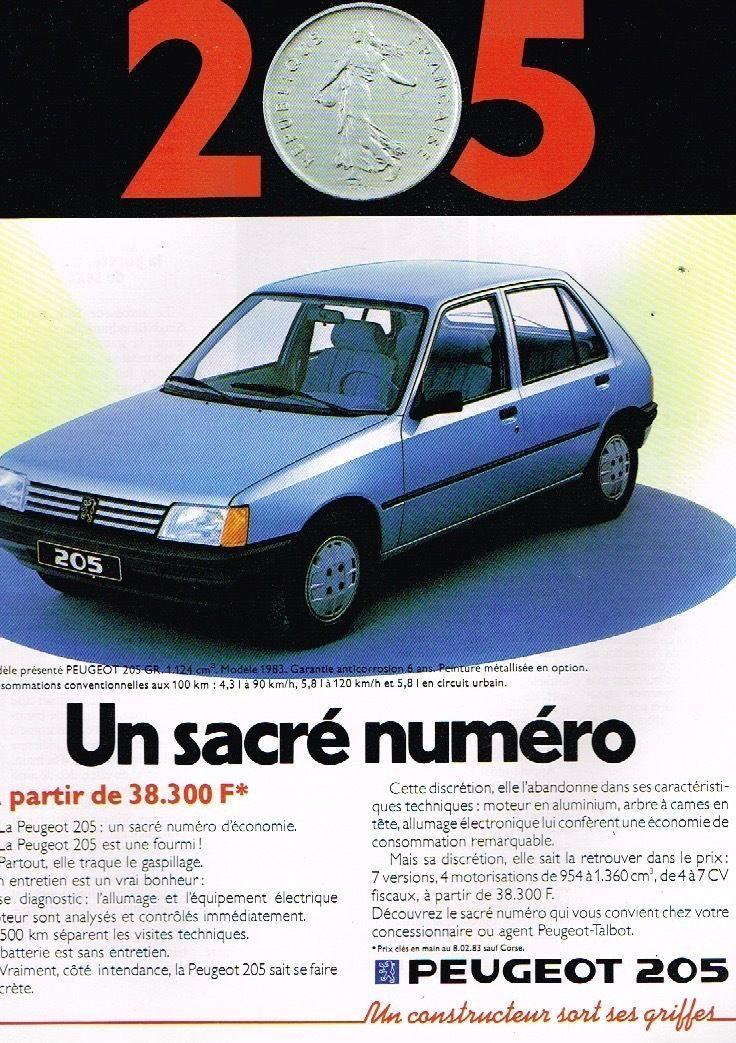 Publicit U00c9 Advertising 1983 Peugeot 205 Gr
