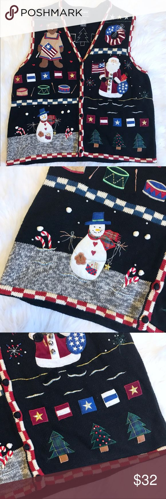 """Vintage Ugly Christmas Sweater Vest 1X Awesome VTG Christmas Sweater Vest. So much fun! Bells, Appliqué, Embroidery! Covered buttons. Good vintage condition, some wear on the felt but still looks great! Size 1X. Approx measurements lying flat: chest 22"""", length 24"""". B6 Vintage Sweaters"""