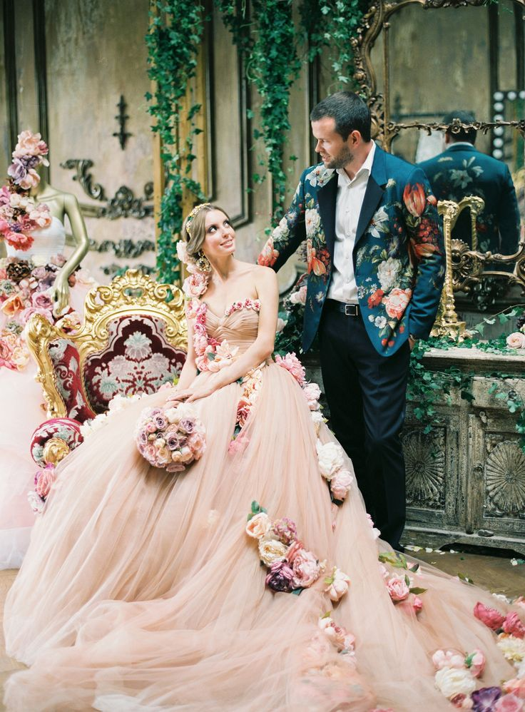 Blush pink tulle wedding dress made from real flowers. Photography: Lena Kozhina - LenaKozhina.com Read More: http://www.stylemepretty.com/2015/02/18/high-fashion-russian-wedding/