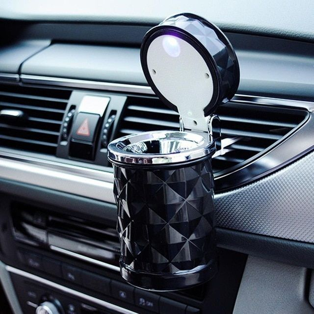Car Led Light Smoking Ashtray Cup Vehicle Cigarette Ash Holder Stowing Tidying Review Stowing Tidying Car Led Lights Car Accessories Luxury Cars