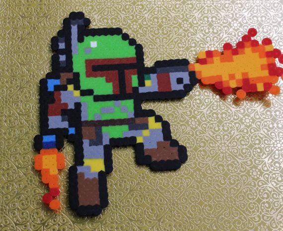 Boba Fett Firing  Sprite Pixel Art 8-bit Art Nerd by GetYoGeekOn