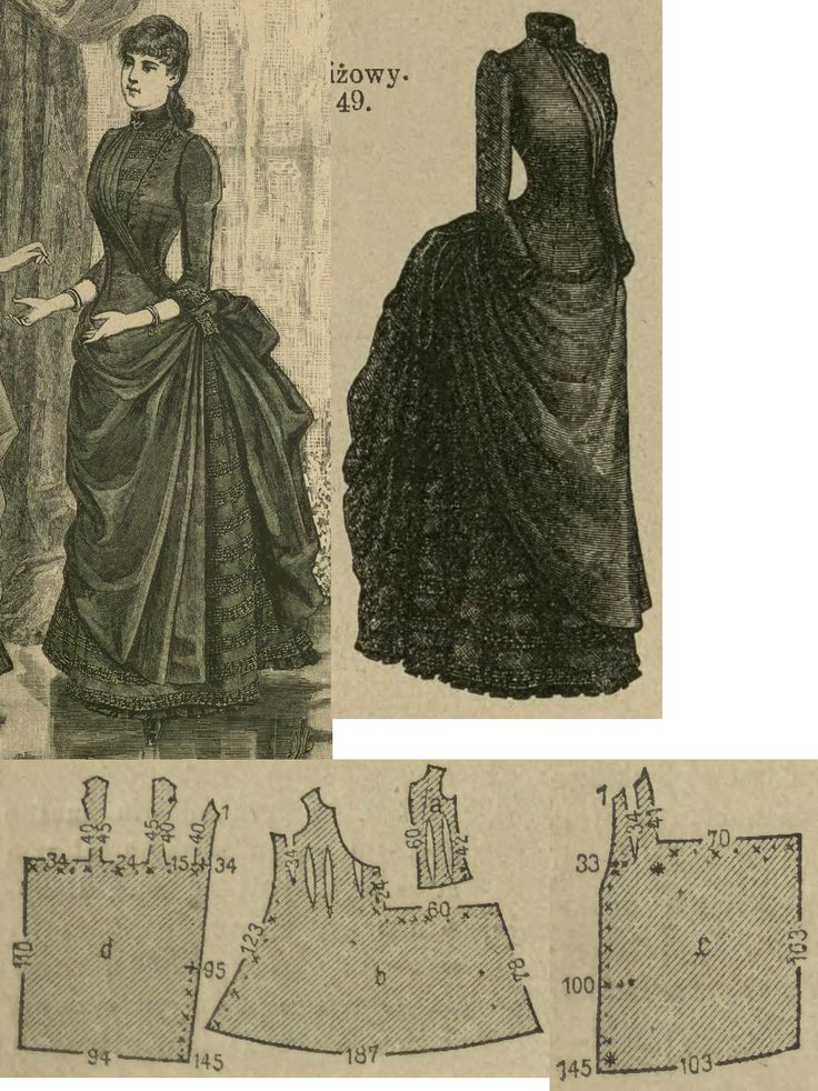 Tygodnik Mód 1885.: Misses' formal gown with overdress from light brown novité fabric, with borten tapes and silk lining.