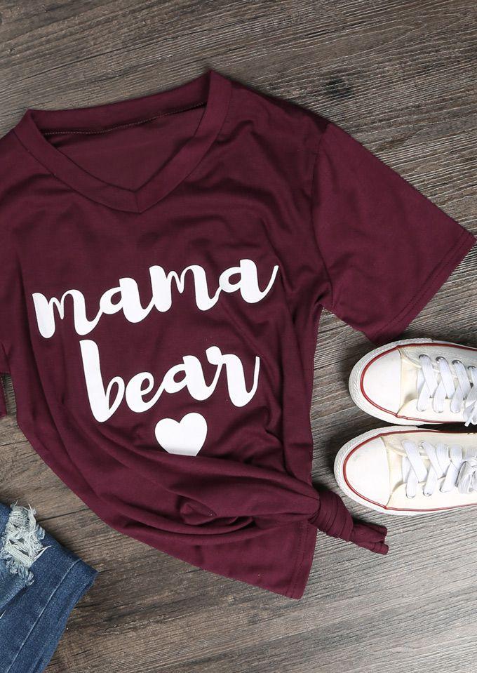 Mama Bear Heart T-Shirt - Fairyseason